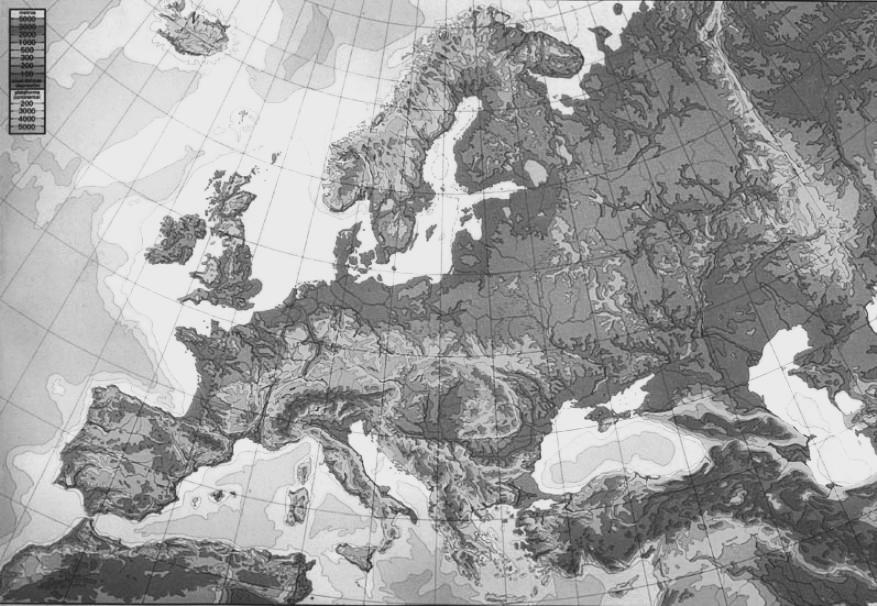 mapa europa blanco y negro fisico