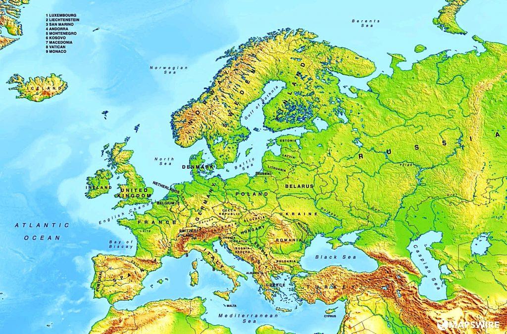 mapa europa fisico con nombres de paises